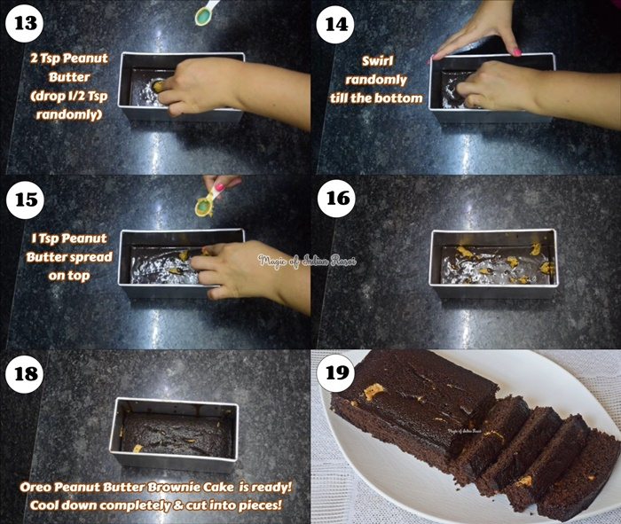 Oreo and Peanut Butter Brownie Cake Recipe - ओरियो और पीनट बटर ब्राउनी केक रेसिपी - Priya R - Magic of Indian Rasoi