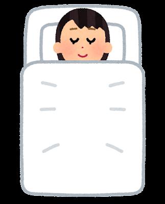 上から見た寝ている人のイラスト(女性)