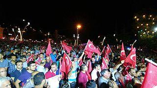 Protestas ciudadanas contra el golpe de estado en la ciudad de Tokat, Turquía