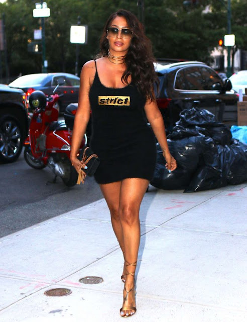 La La Anthony in Black Mini Dress out in New York City