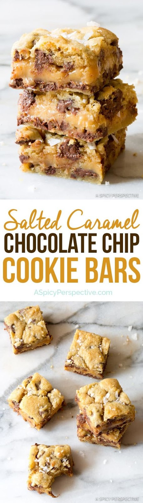 Amazing Salted Caramel Chocolate Chip Cookie Bars, with gooey caramel centers. This cookie bar recipe is so delicious, everyone will ask for the recipe. #ASpicyPerspective #cookiebars #cookies #chocolatechip #baking #dessert #saltedcaramel #caramel