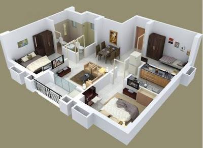 Model Denah Rumah 3 Kamar Tidur Minimalis modern