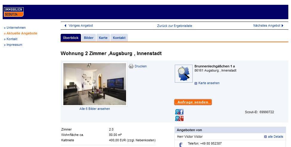 wohnungsbetrugsinformationen  informations about rental scam  Seite 198