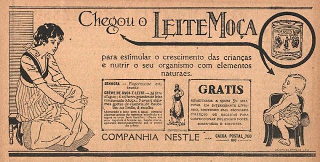 Primeira propaganda do Leite Moça no Brasil veiculada em 1922