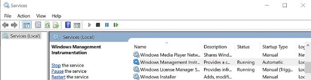 services.msc - Mulai Ulang Proses WMI Provider Host