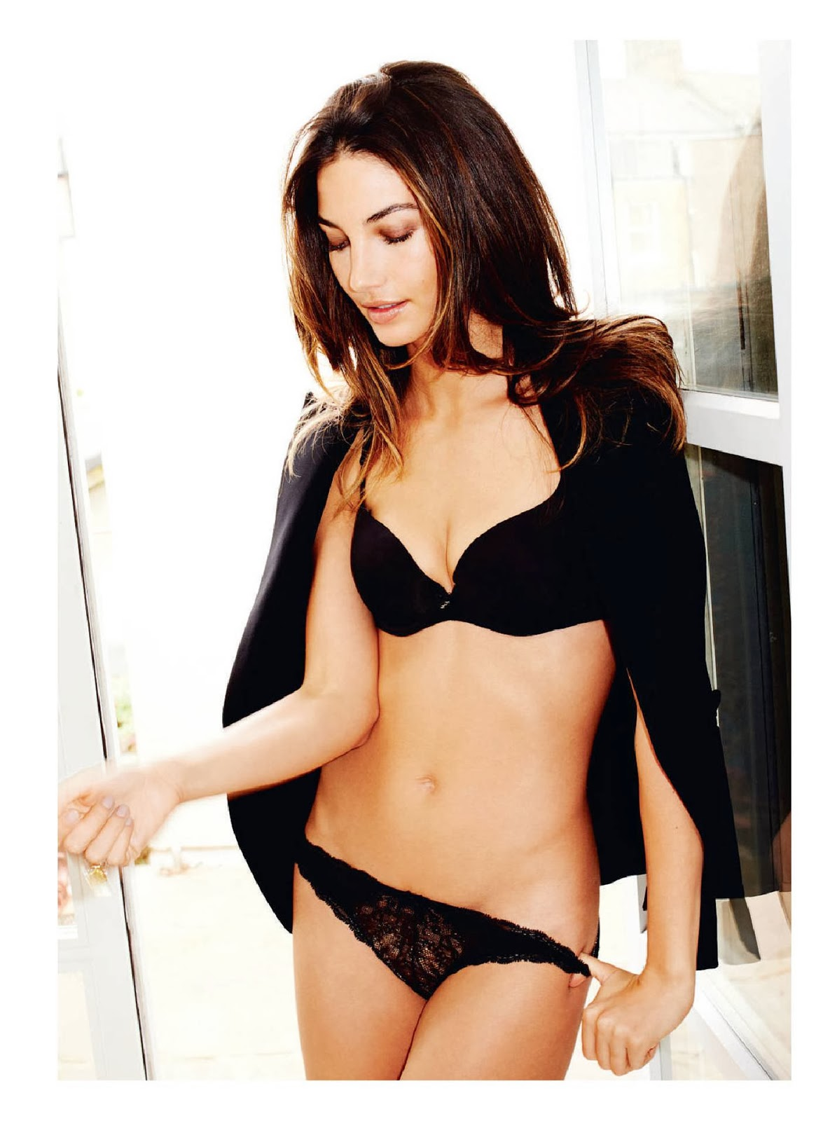 Lily Aldridge strips down to black lingerie for Esquire UK