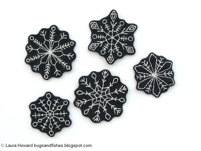 cut out embroidered snowflakes