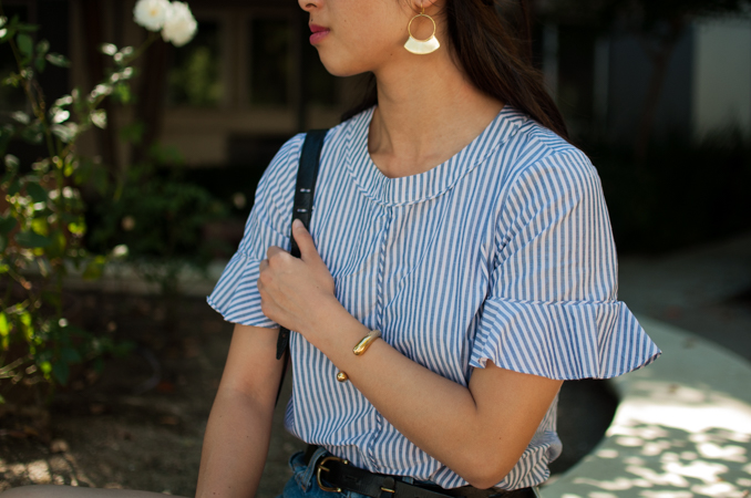 san francisco fashion blogger wearing soko jewelry and banana republic top