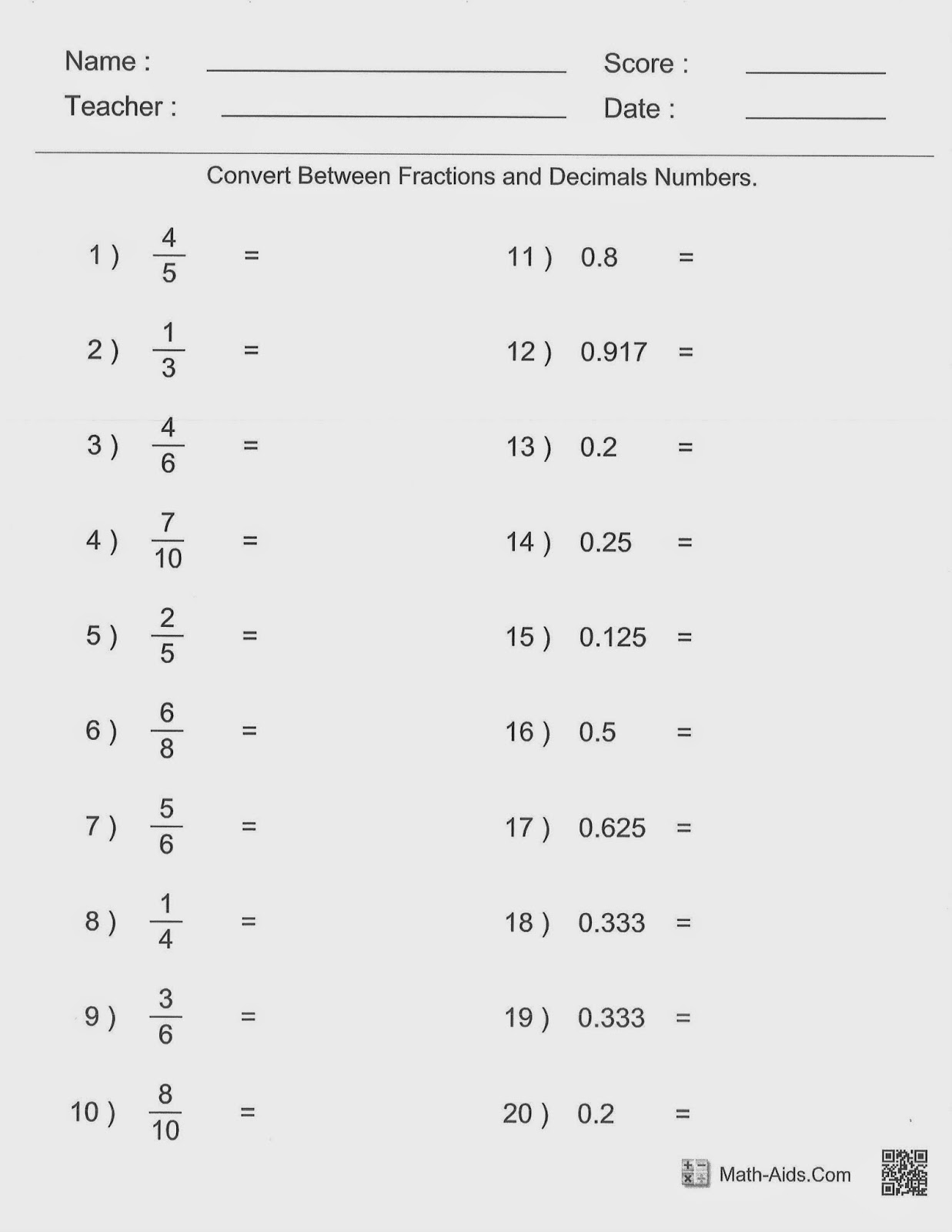 6th Grade Math Worksheets Conversions
