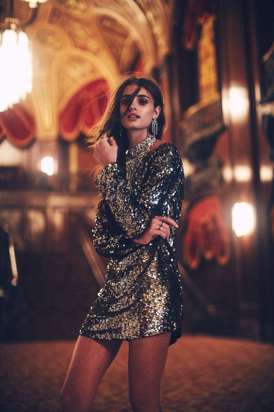 Gold Sequin Long Sleeve Mini Dress
