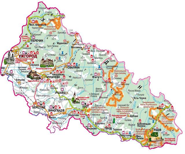 карта Закарпатской области достопримечательности