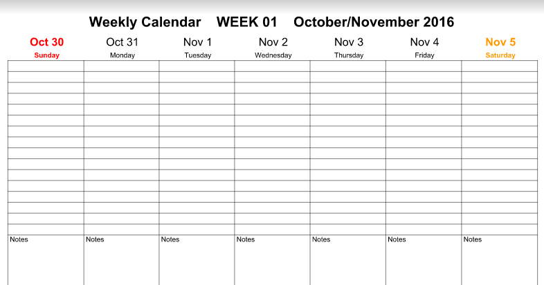 Weekly Calendar November 2016 : Printable calendar november weekly