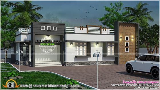 Single Floor Building Front Elevation : October kerala home design and floor plans