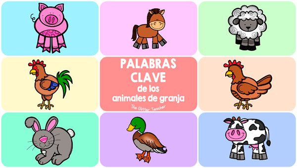 Flash cards en inglés con 8 palabras clave del vocabulario de los animales de granja: chicken, cow, duck, horse, pig, rabbit, rooster y sheep.