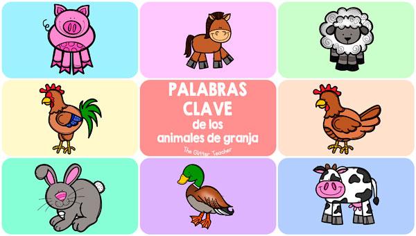 Flash cards en inglés con 8 palabras clave del vocabulario de los animales de granja: chicken, cow, duck, horse, pig, rabbit, rooster y sheep.