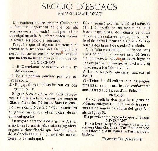 Reglamento del I Campeonato del C.C. Sant Andreu 1927