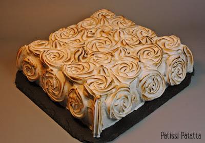 gâteau roses meringuées, génoise, citron, meringue, dessert, patisserie, lemon cake, patissi-patatta