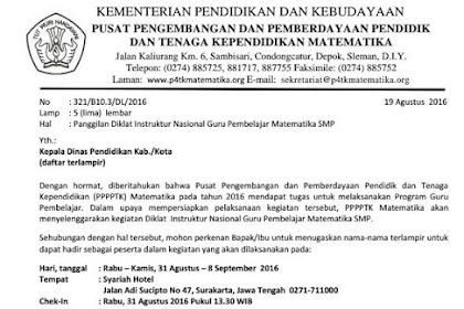 Panggilan Diklat Instruktur Nasional Guru Pembelajar Matematika SMP dan SMA (30 Agustus - 8 September 2016)