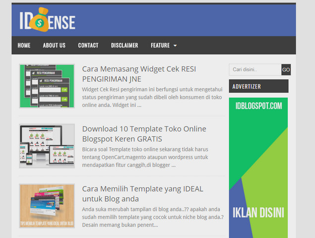 idSense Responsive Blogger Templates