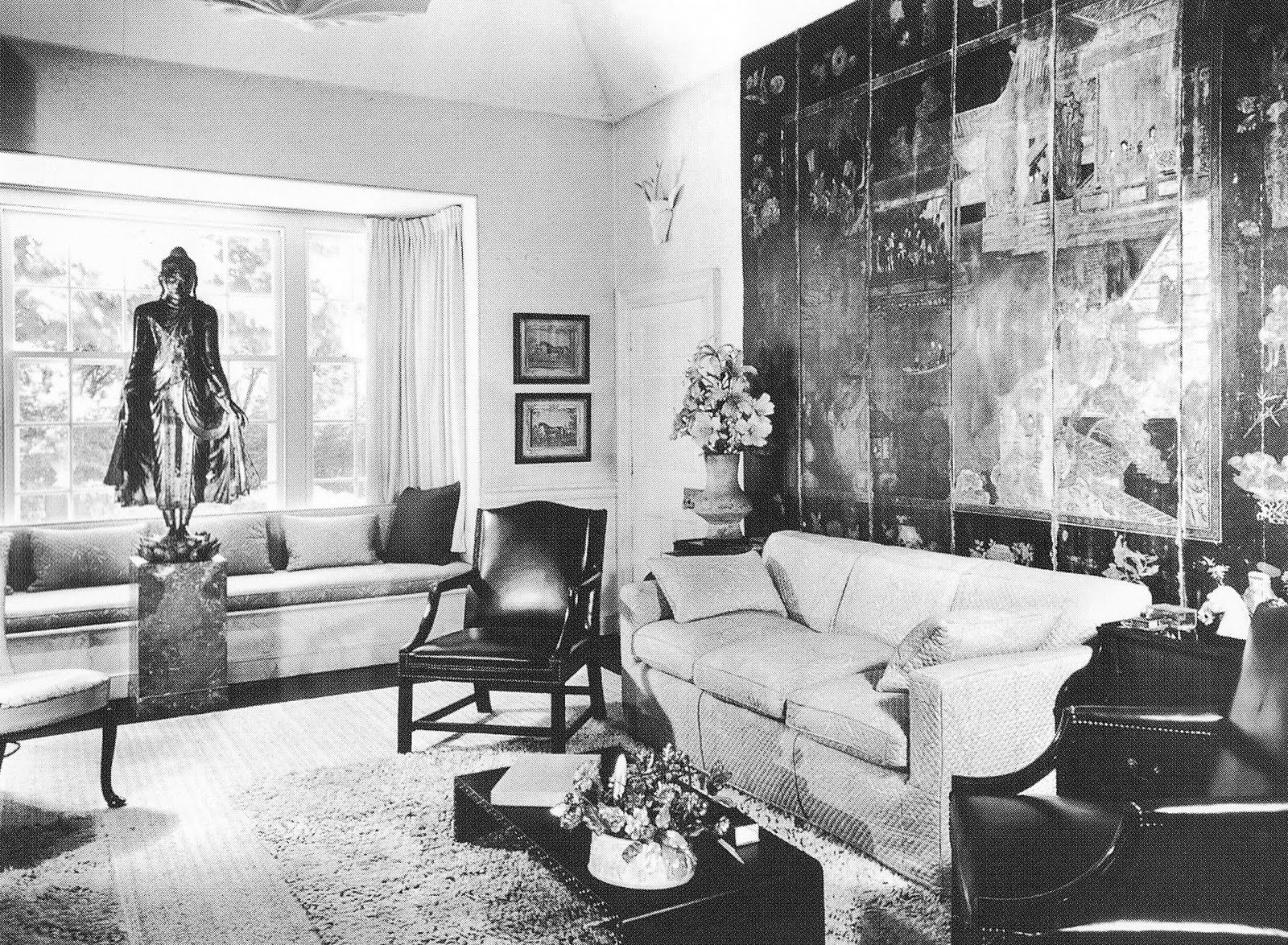 Architect David Adler's sitting room, decorated by his sister, Francis  Elkins, courtesy of David Adler, Architect: The Elements of Style .
