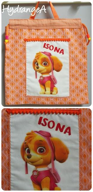 Bolsa en tela naranja con transfer de Skye personaje patrulla canina para niña de P3