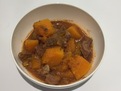 Slow Cooker Beef and Butternut Squash Stew in a bowl