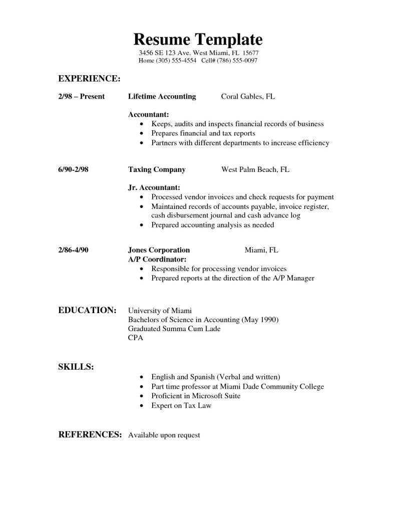 sample of simple resume sample resumes