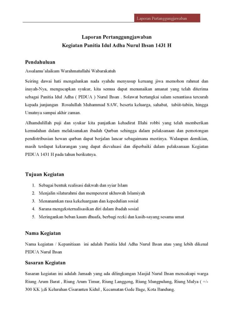 Contoh Surat Pemberitahuan Kegiatan Qurban