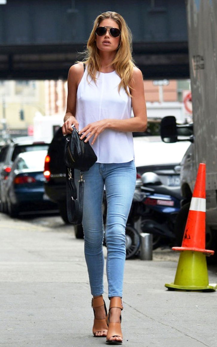 White top + blue skinnies