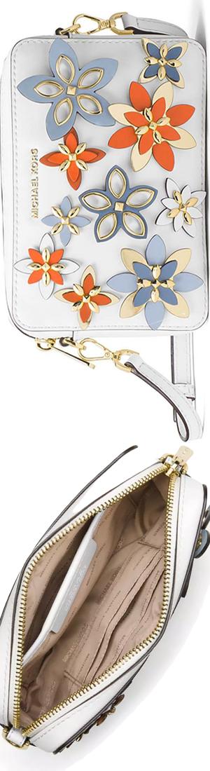 MICHAEL Michael Kors Floral Medium Camera Bag, Optic White/Multi