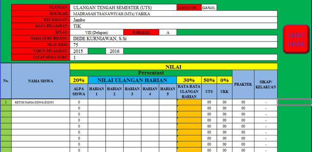 Aplikasi Perhitungan Nilai UTS UAS dan UKK menggunakan Aplikasi Microsoft Excel