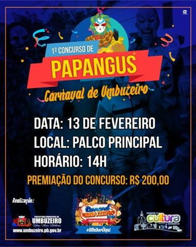 Carnaval de Umbuzeiro terá concurso de papangus