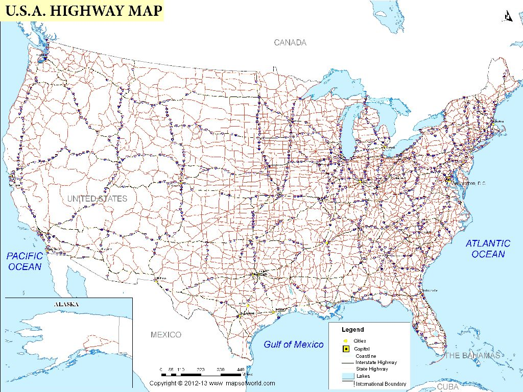 united states interstate road map