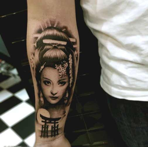 Small Geisha tattoo designs on inner forearm for guys