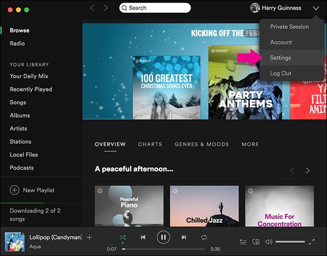 impostazioni desktop qualità suono streaming spotify