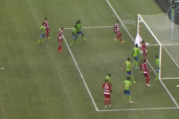 Sounders goalkeeper Michael Gspurning is unable to save a goal straight from the corner