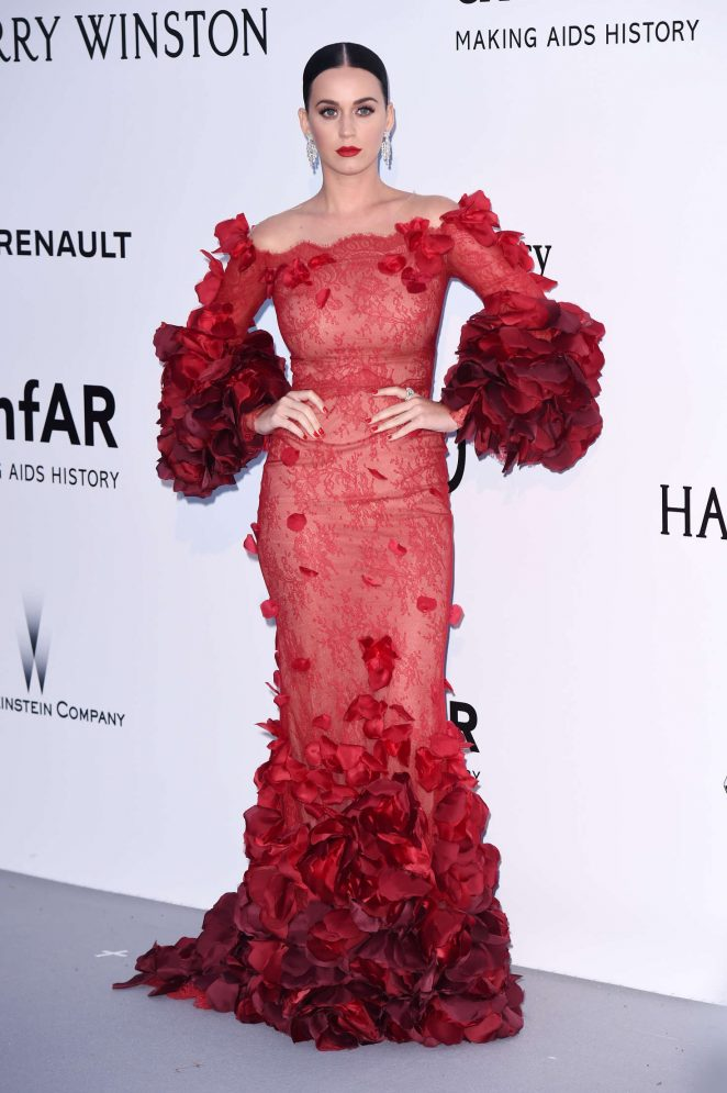 Katy Perry dazzles in a flamenco inspired gown at the amfAR Gala in Cannes