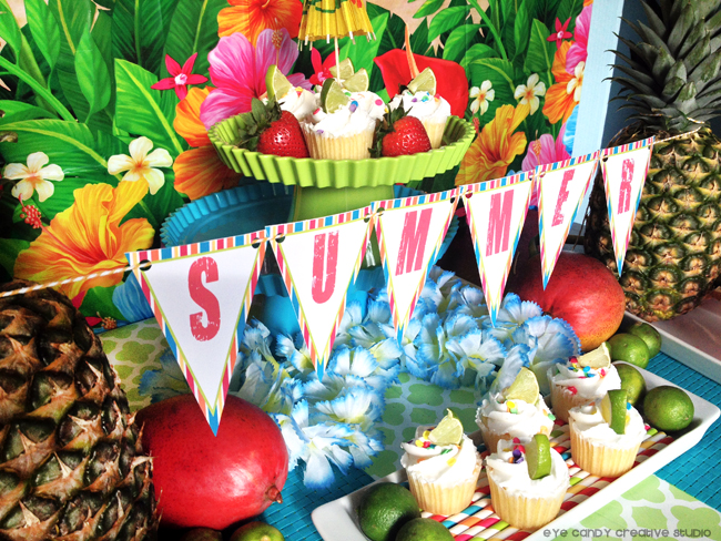 luau table decor, summer party, summer banner, tropical, summer bbq