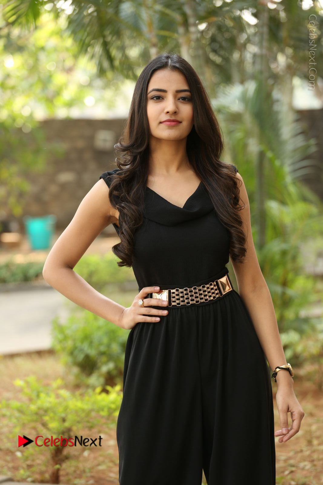 Rukhsar Mir Stills in Black Long Dress at Aakatayi Movie First Look Launch