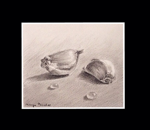 Still life painting of cloves of Garlic using charcoal by Manju Panchal