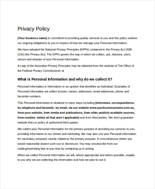 Privacy Policy Templates In PDF Format Excel Template - Website privacy policy template