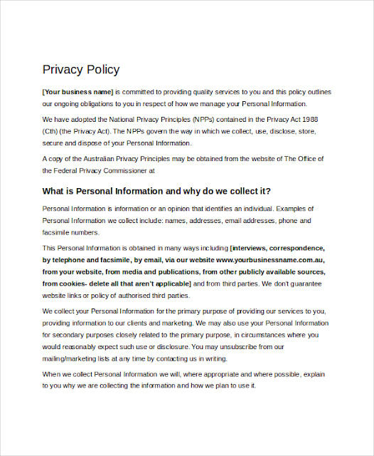 Privacy Policy Template Ecommerce