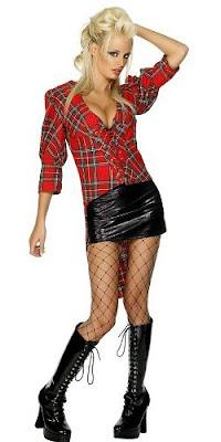 Tartan Punk Chick Costume - tartan shirt and faux leather mini skirt