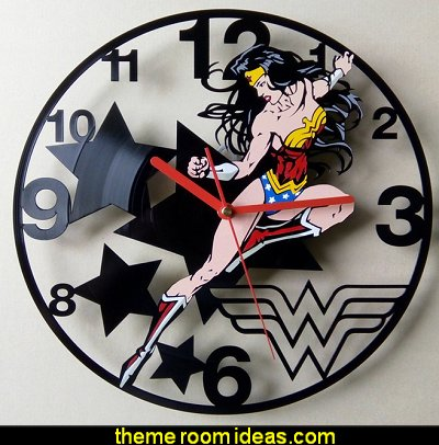 Wonder woman - Handmade Vinyl record wall clock