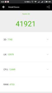 Xiaomi Redmi 3x - skor benchmark Antutu dalam kondisi baru dinyalakan