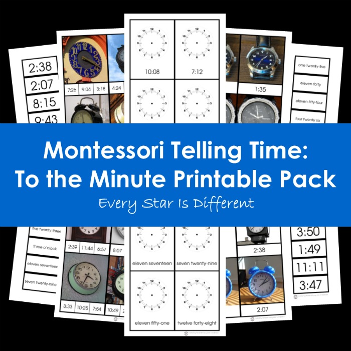 Montessori Telling Time: To the Minute Printable Pack