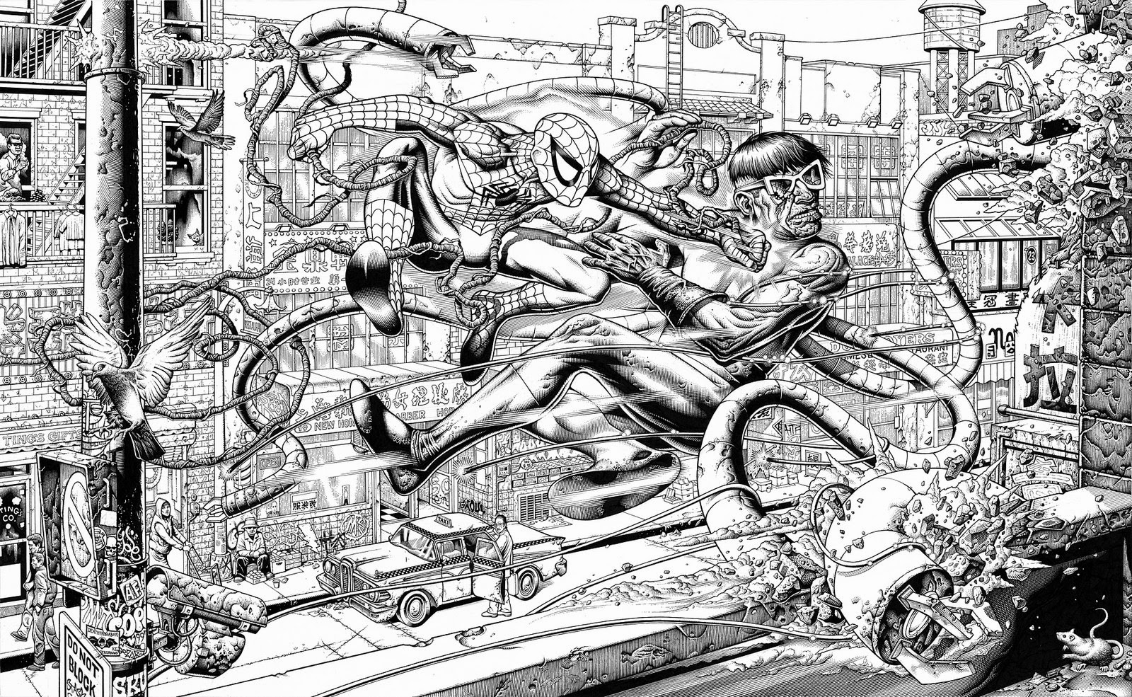 """Spider-Man vs. Doctor Octopus"" Original Ink Art by Mike Sutfin"