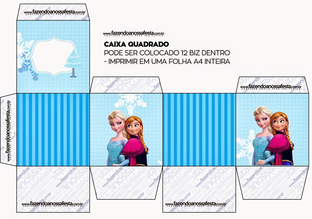Caja para Imprimir Gratis de Frozen en Navidad Azul.