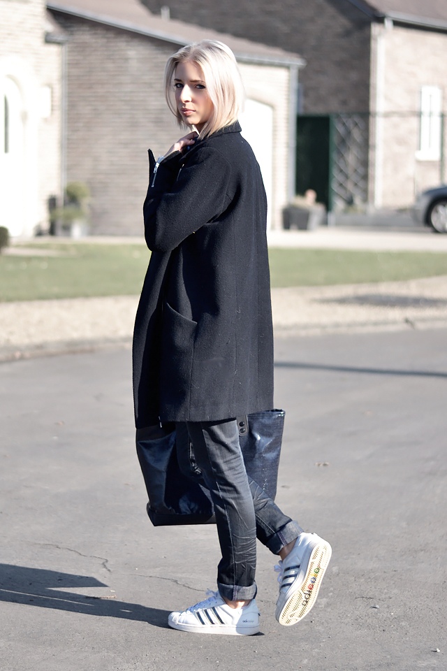 Asos biker coat, cocoon coat, black, winter, streetstyle, superstar, adidas, adicolor