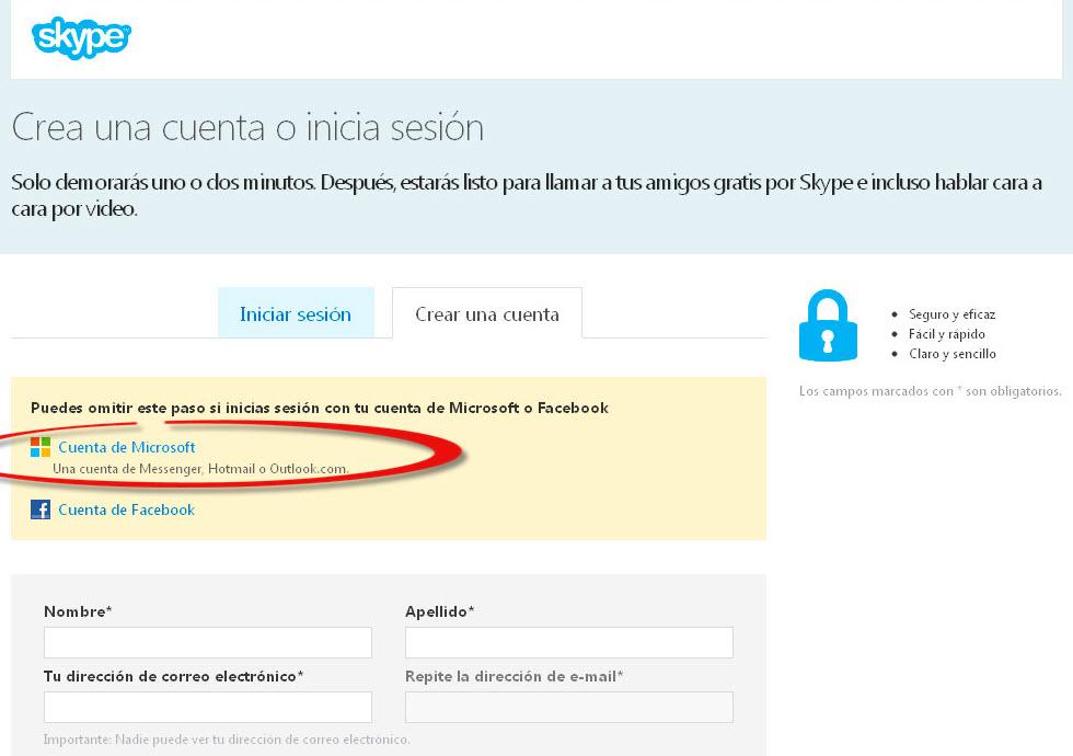 Skype crear cuenta por facebook